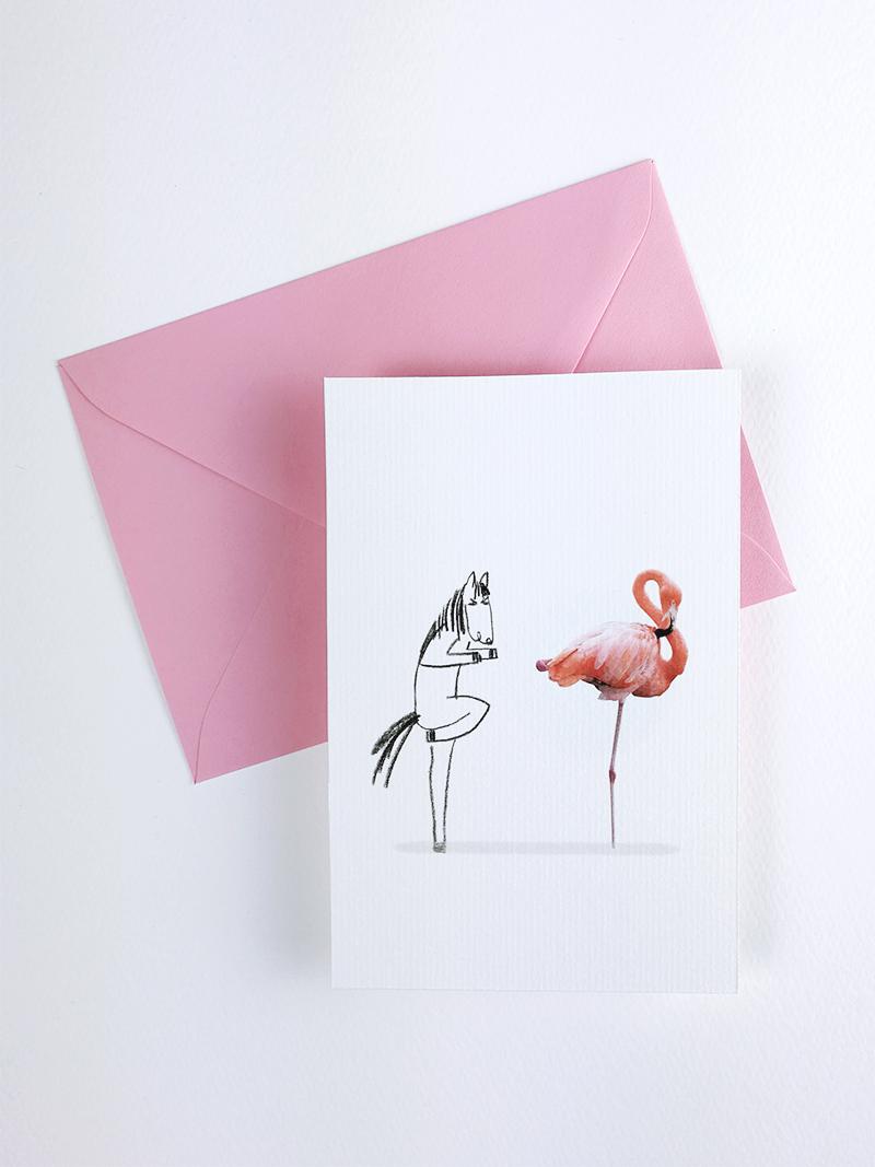 Les Folles Aventures : Carte Postales Flamingo