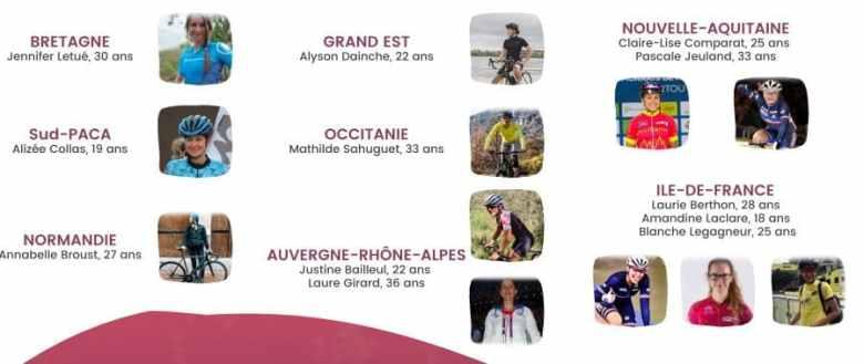 Les différentes ambassadrices nationales de la FFC, pour le cyclisme féminin