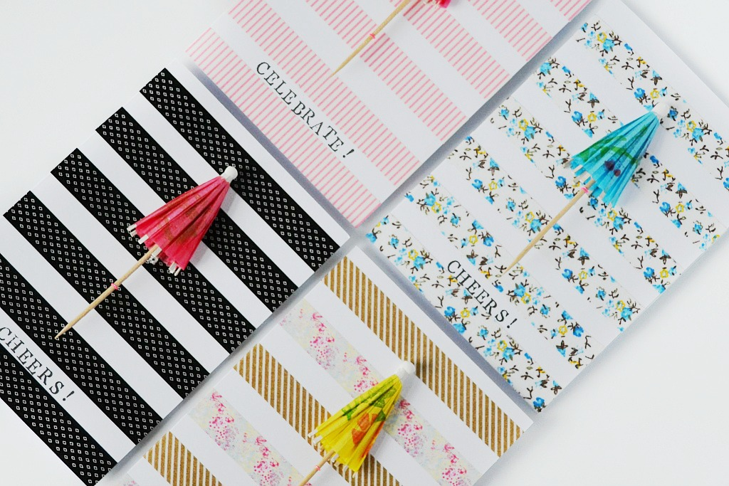 Made Diy Greeting Card Using Cocktail Umbrellas And Washi
