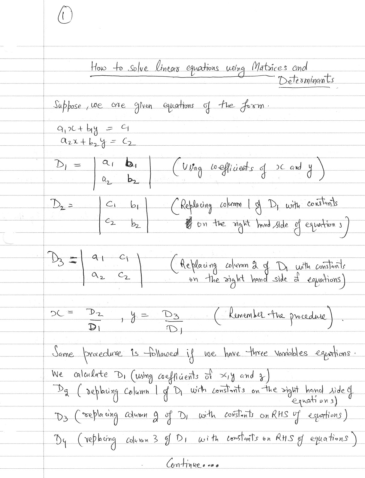 Detail Of Cramer Method To Solve System Of Linear Equations