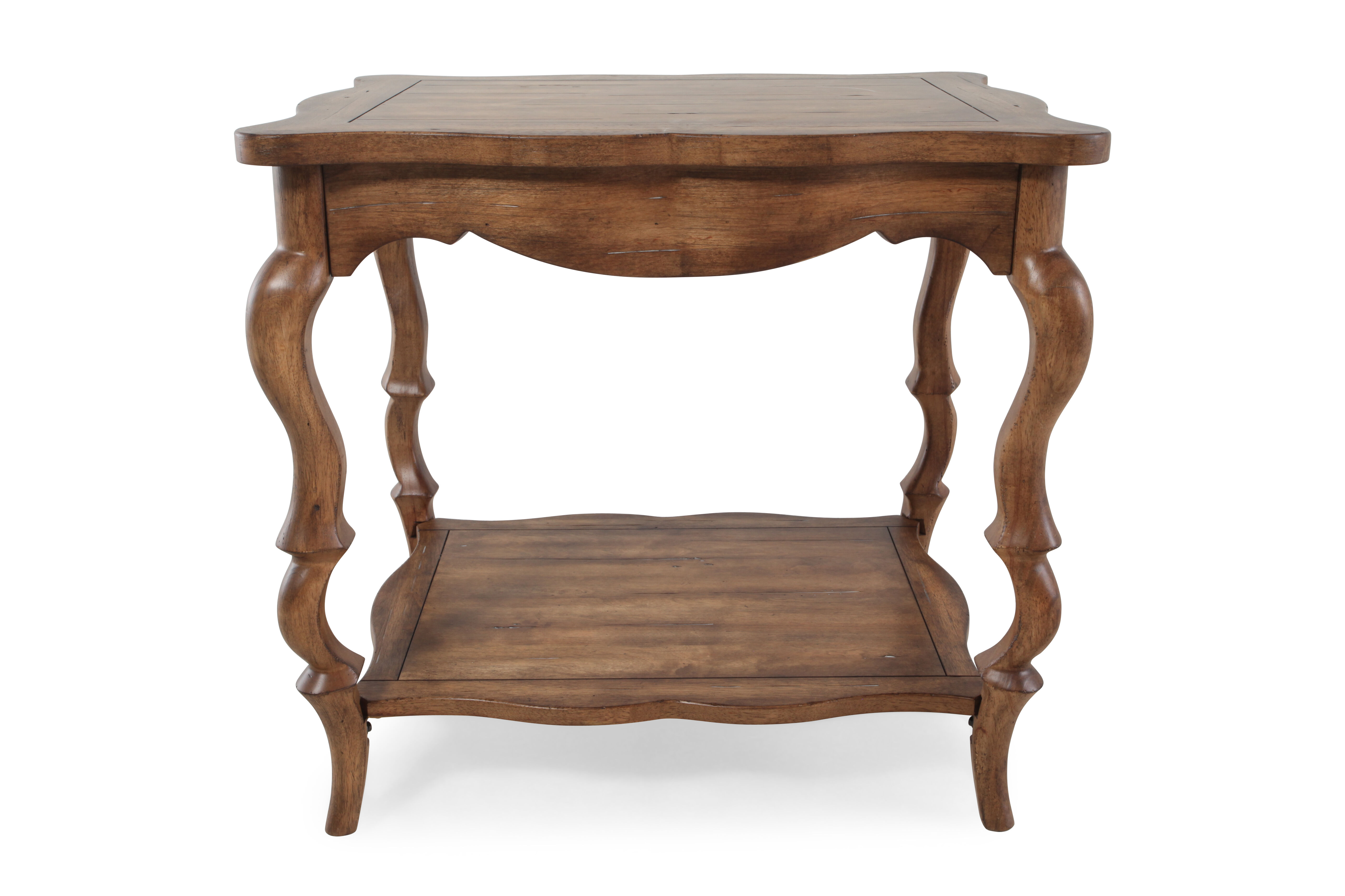 Traditional French Leg Accent Table In Brown