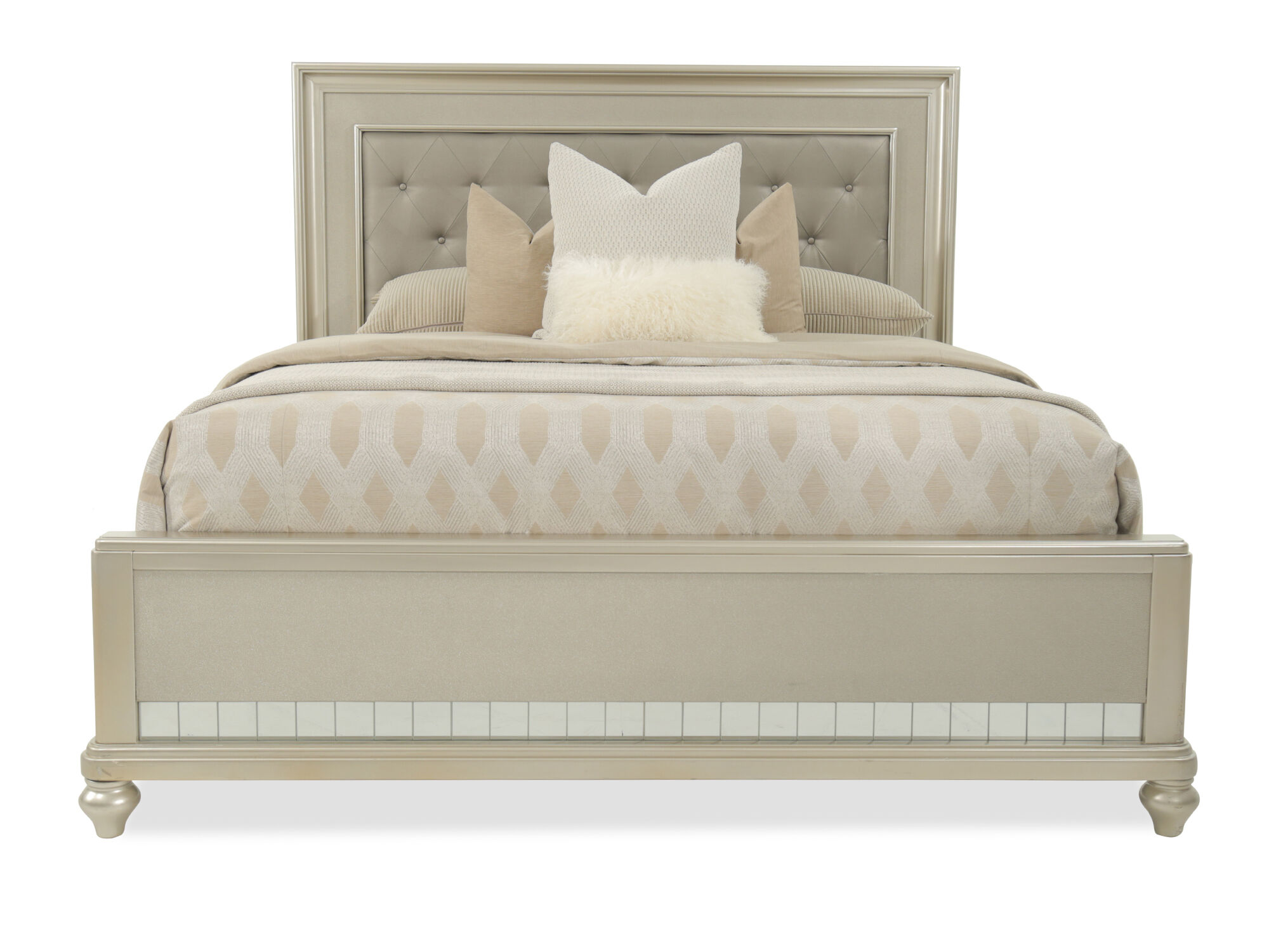 """66"""" Transitional Button Tufted Panel Bed In Brown"""