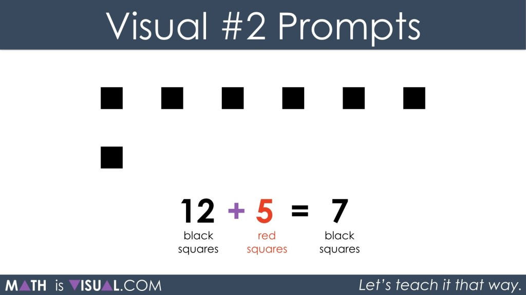 Adding Positive and Negative Integers Visual Prompts 2b - 12 black plus 5 red equals 7 black