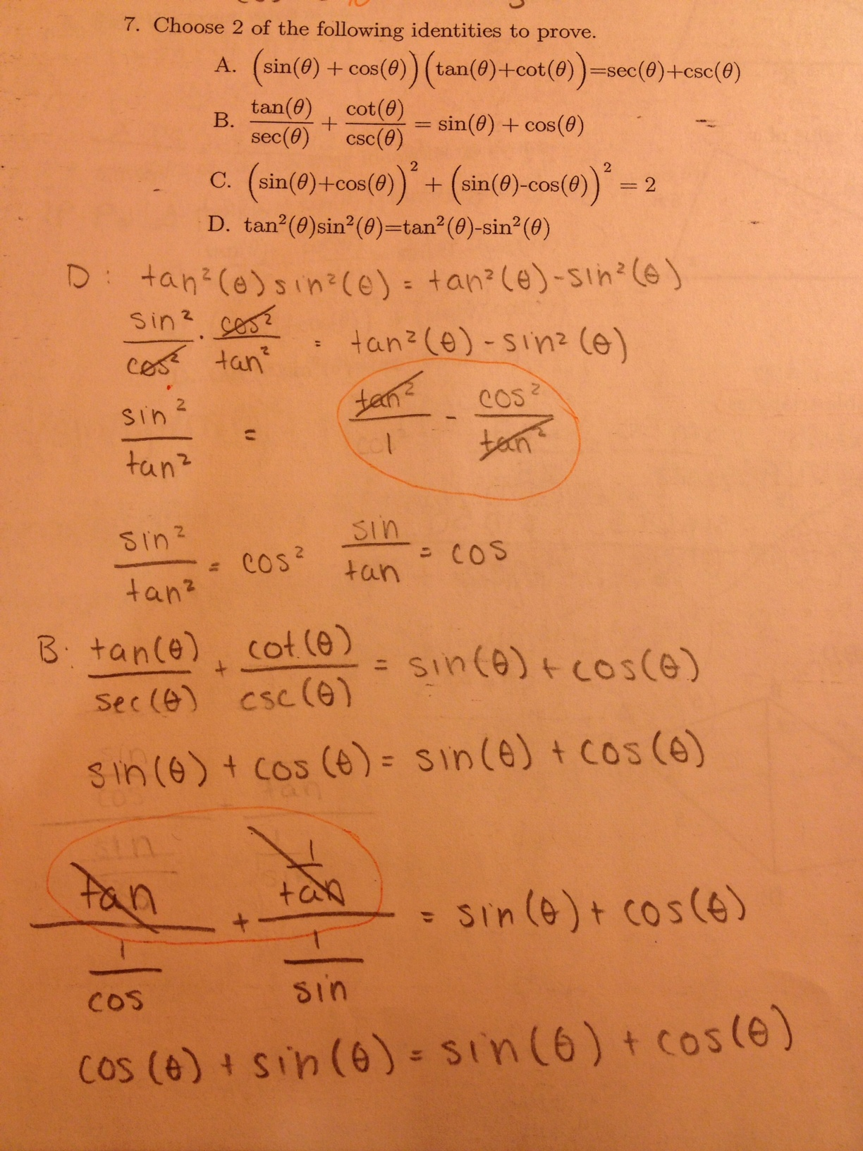 Trig Identities Math Mistakes