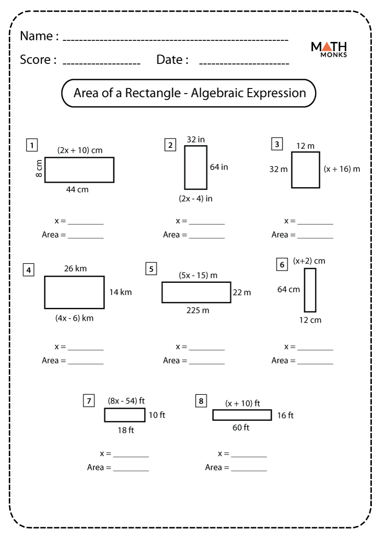 Area Of A Rectangle Algebraic Expression Worksheets