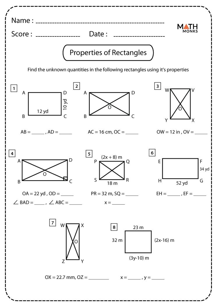 Properties Of Rectangles Worksheets