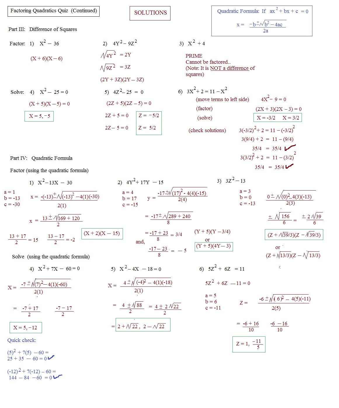 Factoring Trinomials Quiz With Answers