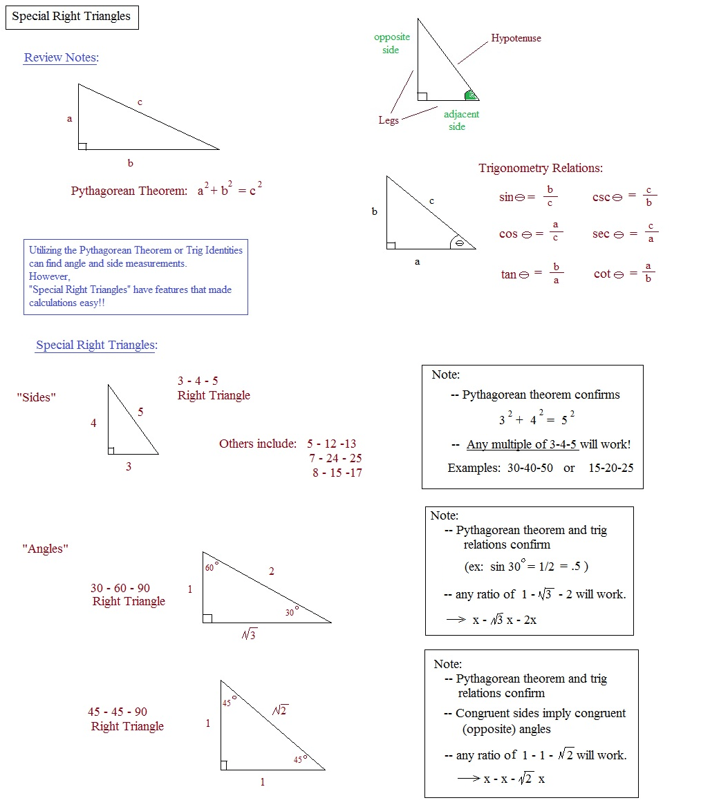 Puzzle Math Special Right Triangles Worksheet Answers