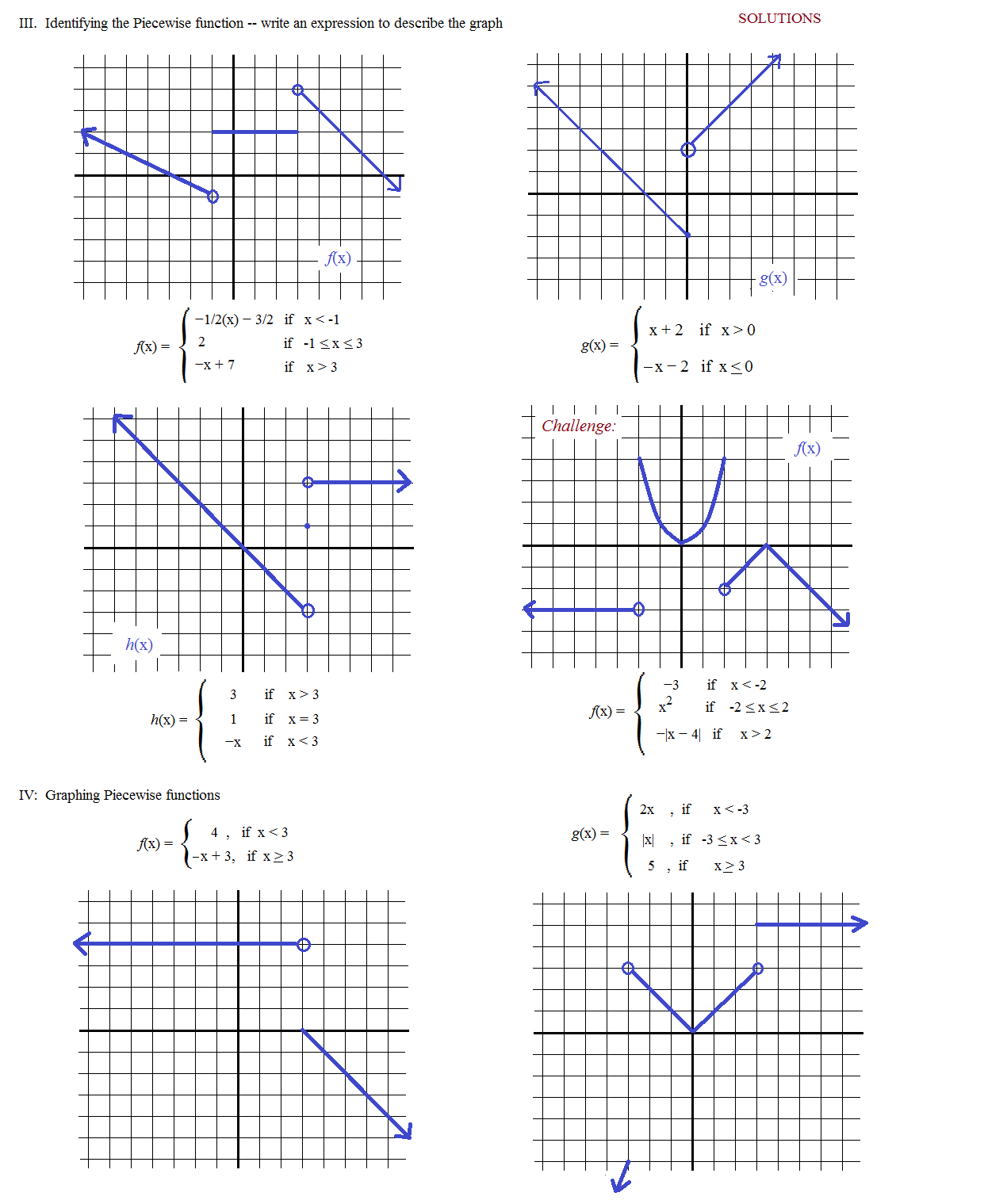 Piecewise Functions Worksheet With Answer Key