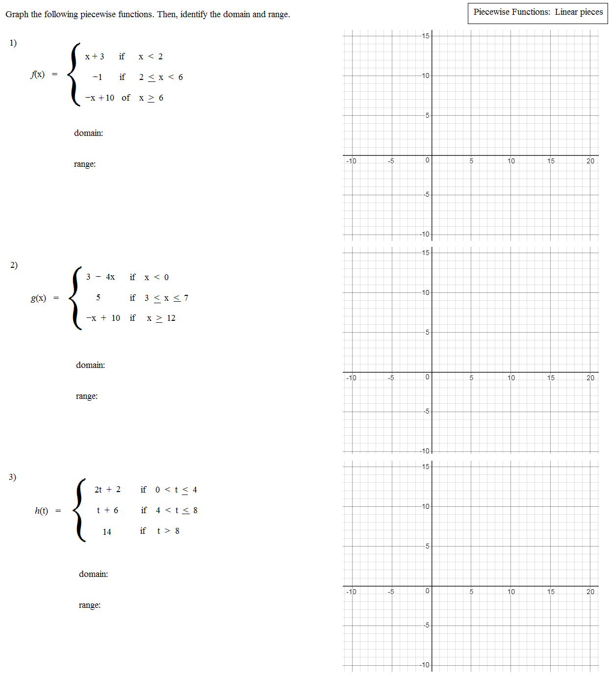 Step Function Worksheet