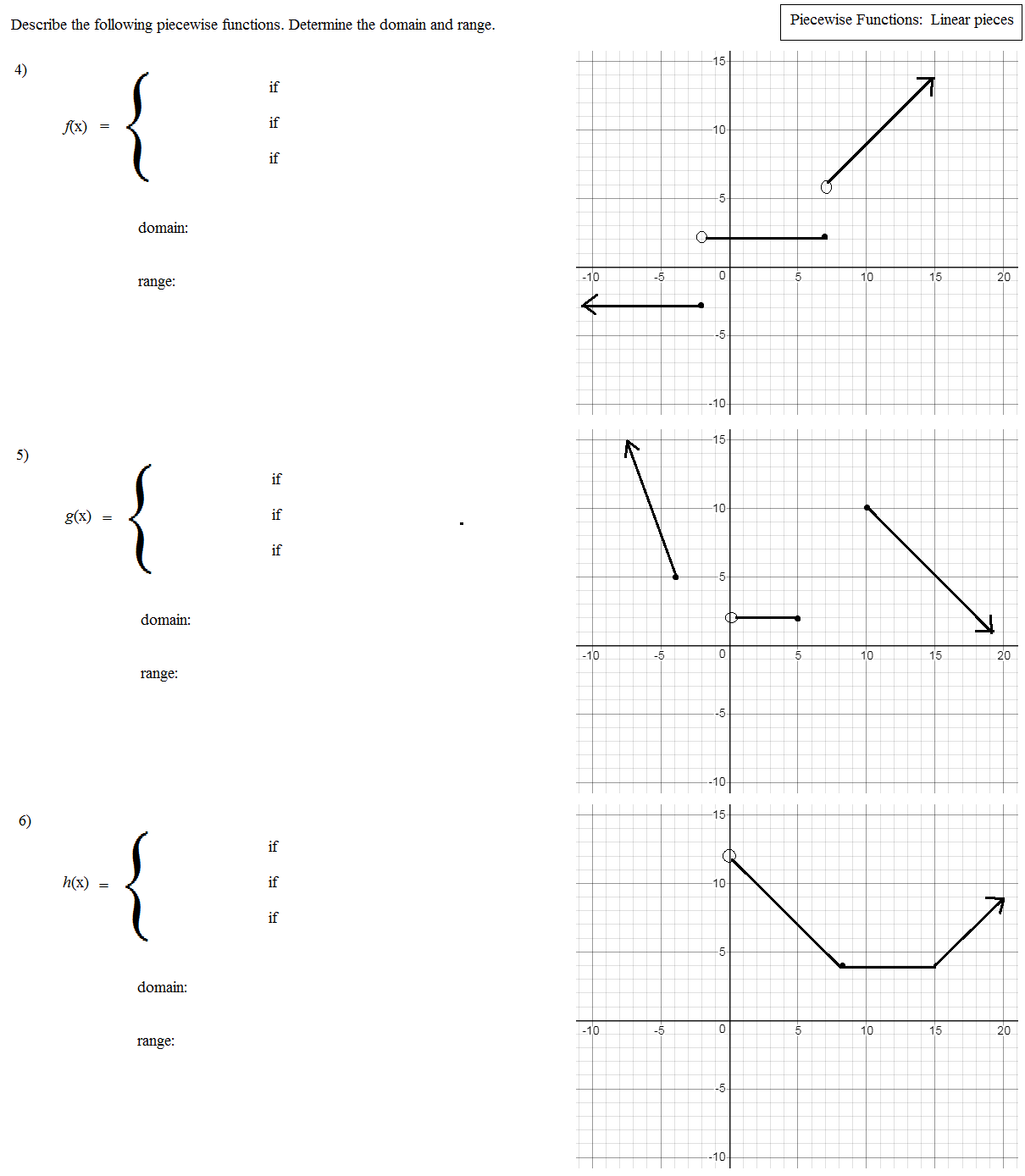 Step And Piecewise Functions Worksheet