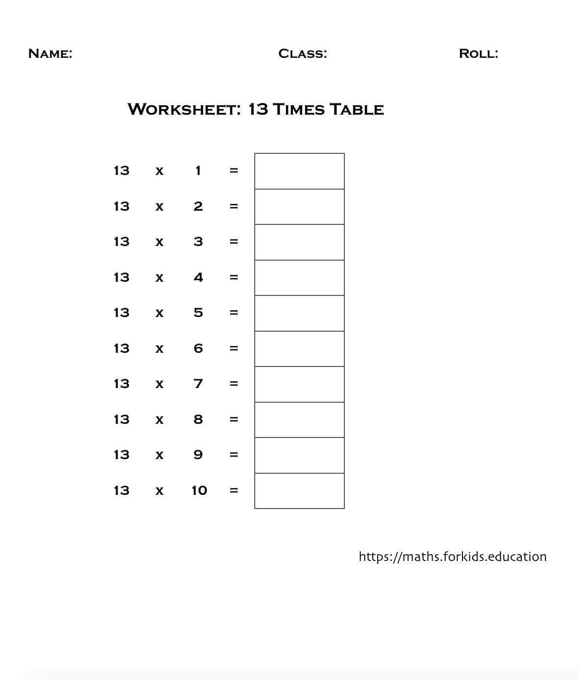 Multiplication Tables of 1 to 20 (With Printable Charts ...