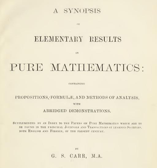 Carr's Synopsis and Sixth Term Entrance Papers