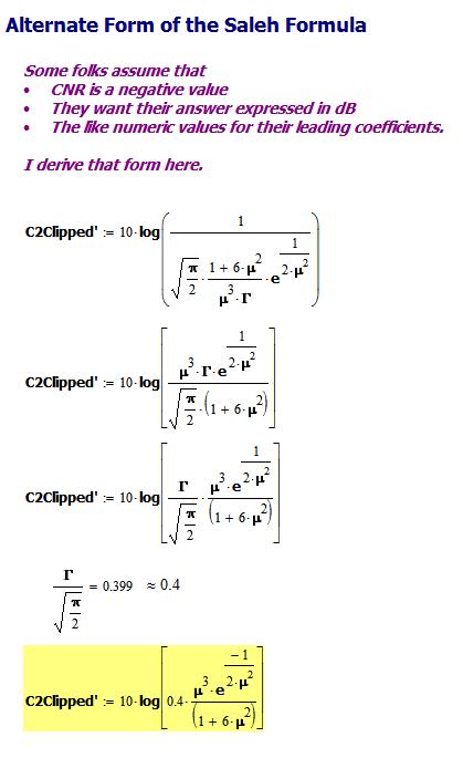 Figure 7: Alternative Form of Saleh Equation.