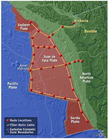 Figure X: Project Neptune Seismic Surveillance Network.