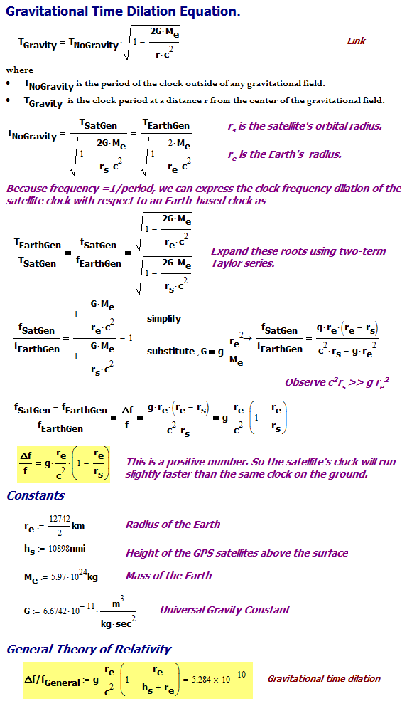 Figure 3: Derivation of General Relativity Percentage Frequency Change.