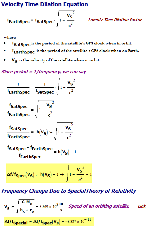 Figure 4: Derivation of Percentage Frequency Change Due to Special Relativity.