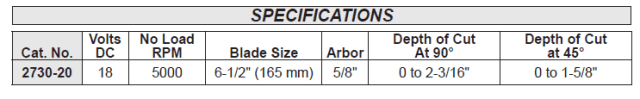 Figure 2: Manufacturer's Specification for the 6.5-in Depth of Cut.