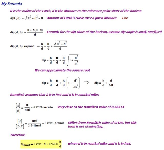Figure 5: Derivation of Bowditch's Dip Short of Horizon Formula.