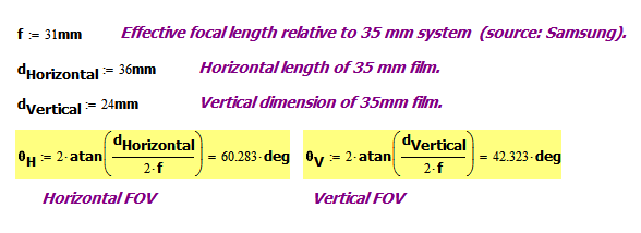 Figure 5: Using Standard FOV Equation to Compute S5 Horizontal and Vertical FOVs.
