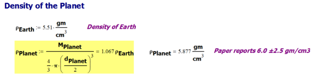 FIgure 4: Calculation of the Planet's Density.
