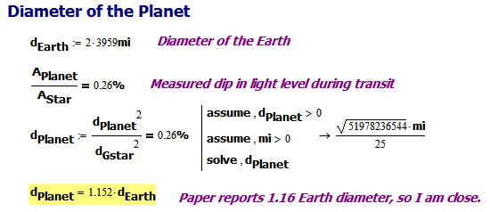 Figure 3: Computing the Diameter of the Planet.