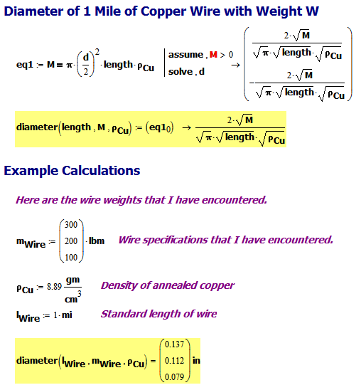Figure 2: Wire Diameter Formula with Examples.
