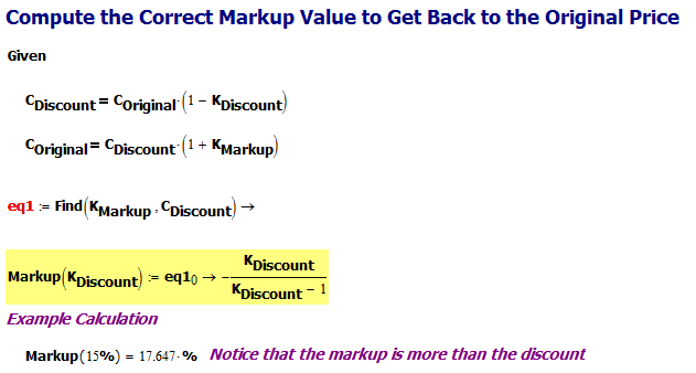 Figure 4: Derivation of the Correct Markup Percentage.