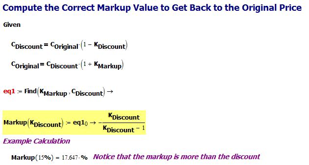 Figure 4: Derivation of the Correct Markup Percentage.