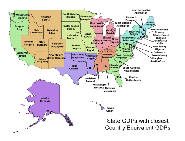 Figure 2: My State GDP Map with Comparable National GDPs.