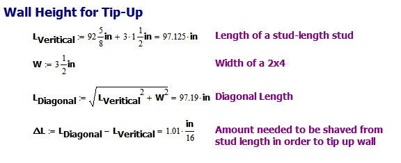 Figure 3: Calculation of the Diagonal Height of a Standard Wall.