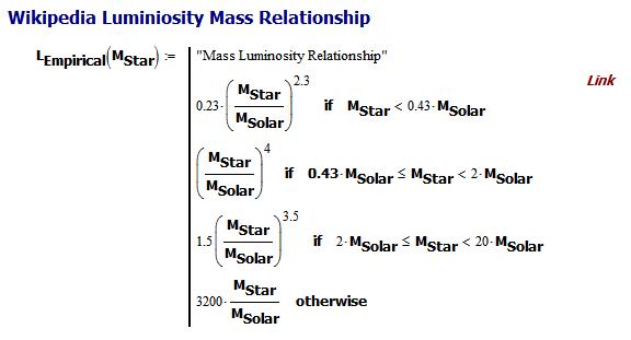 Figure 2: Mathcad Implementation of Luminosity vs Mass Relationship.