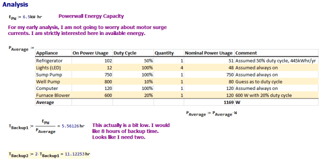 Figure 3: My Calculations for the Backup Time Available Using One or Two Powerwalls.