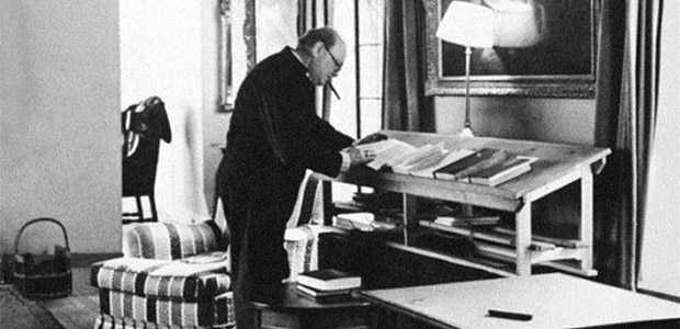 Figure 1: Churchill Standing At His Desk Working.