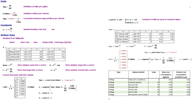 Figure 2: Mathcad Unit Conversion Routine.Unit Conversion Routine.