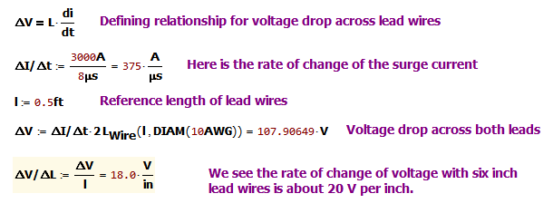 Figure 10: Calculation of Surge Voltage Across Both Leads.