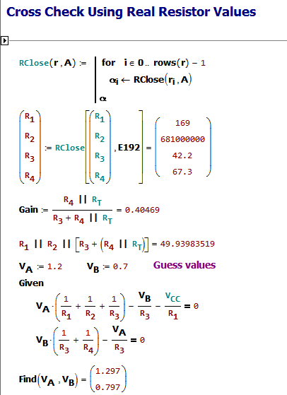 Figure M: Compute Standard Resistance Values and Double Check the Solution Still Works.