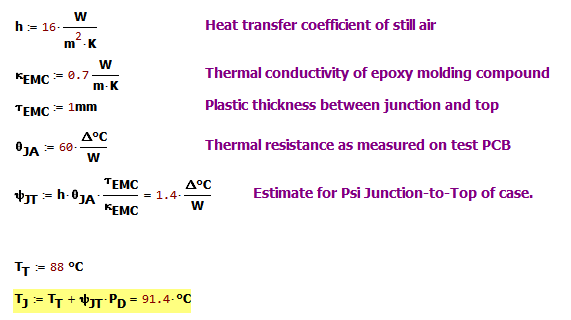 Figure 4: Junction Temperature calculation using Psi-JT estimate.