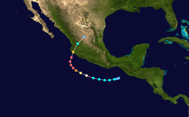 Figure 3: Path and Intensity of Hurricane Patricia.