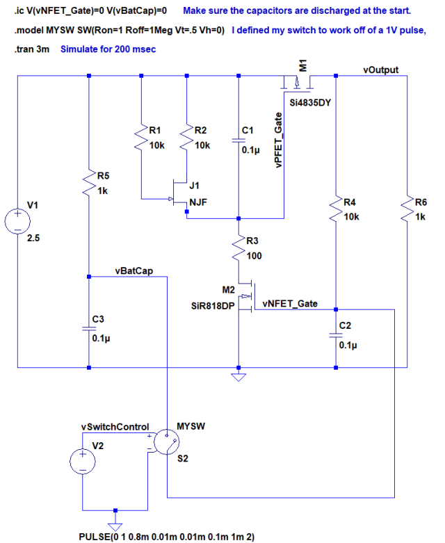 Figure 1: LTSpice Schematic of Battery Isolator Circuit.