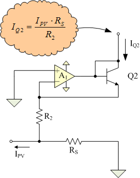 Figure 5: Schematic of Circuit Section that Generates A Q2 Current Proportional to the PV Current.