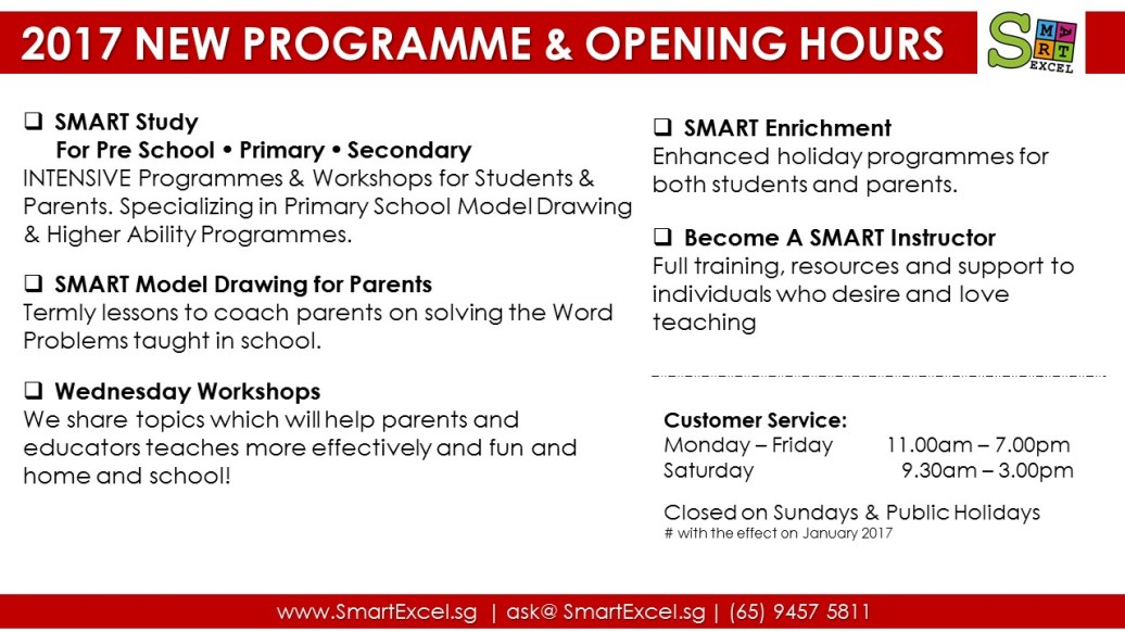 2017 New Programmes & Opening Hours