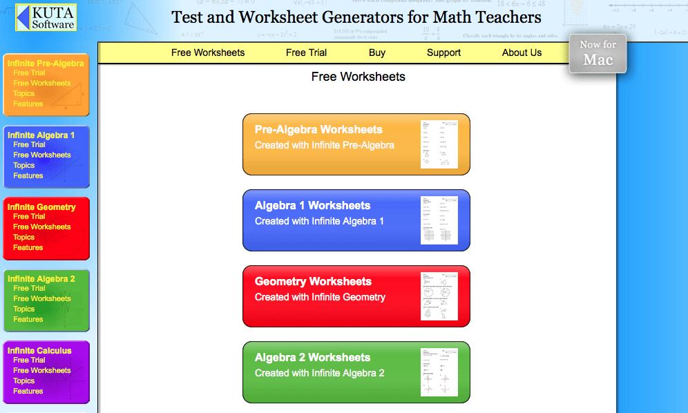 Kuta Worksheet Test Generator