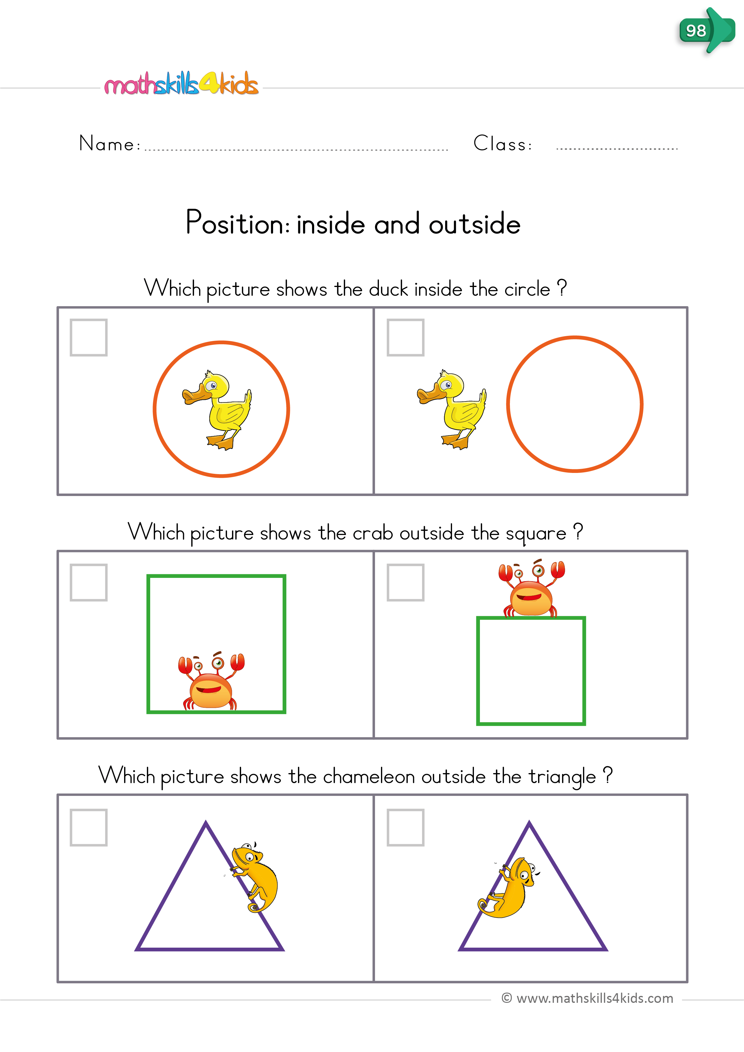 Position Worksheets For Kindergarten