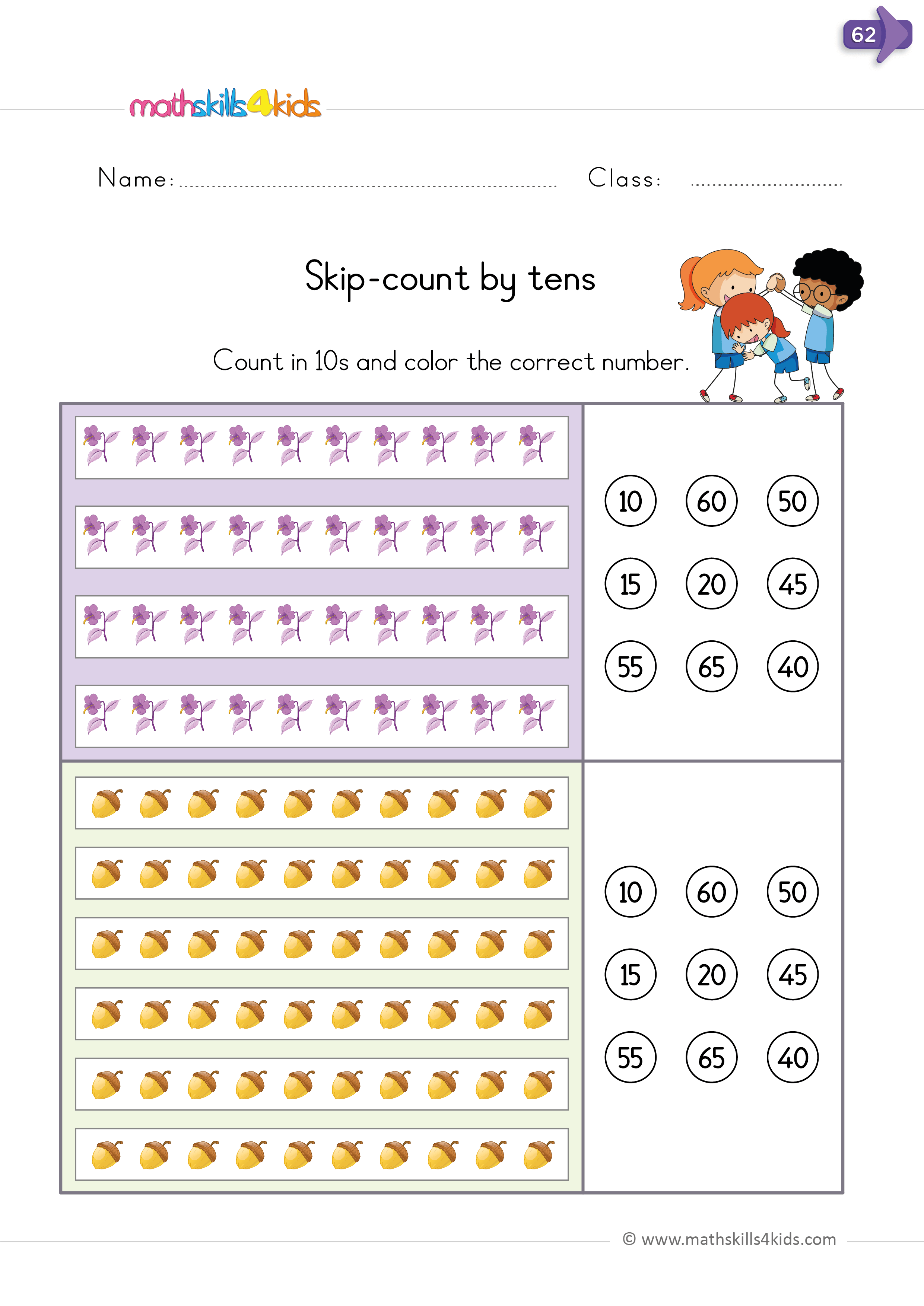 Skip Counting Worksheets For Kindergarten