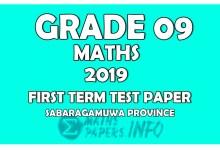 Photo of 2019 Grade 09 Mathematics First Term Test Paper   Sabaragamuwa Province