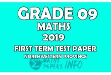 Photo of 2019 Grade 09 Mathematics First Term Test Paper   Northwestern Province