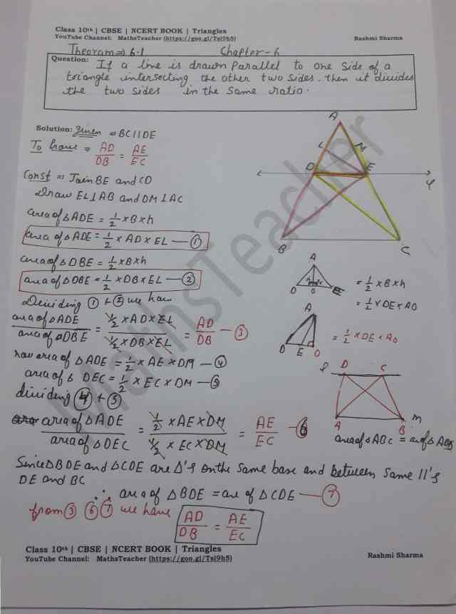 class 10 chapter-6 ex 6.1 Theorem 6.1
