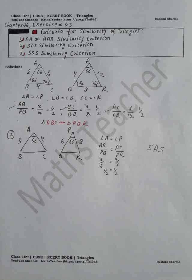 class 10 chapter-6 ex 6.3 creiteria for similarity of triangles