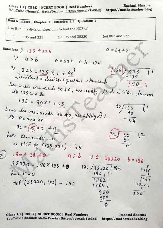 Class 10 Maths Real Numbers Exercise 1.1 Question 1.